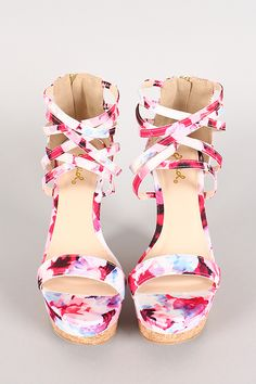 Qupid Floral Print Open Toe Strappy Cuff Cork Platform Wedge i. Fancy Shoes, Pretty Shoes, Crazy Shoes, Cute Shoes, Me Too Shoes, Open Toe Boots, High Heel Boots, Bootie Boots, Shoe Boots