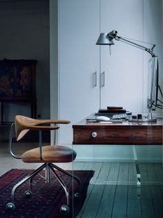 Glass desk and vintage chair