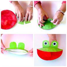 Paper Plate Frog Puppet – Make Film Play Frog Crafts Preschool, Jungle Crafts, Preschool Art Activities, Educational Activities, Puppets For Kids, Hand Puppets, Art For Kids, Crafts For Kids, Diy Crafts