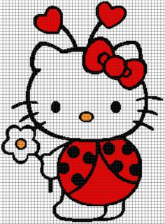 Hello Kitty Ladybug – (Chart/Graph AND Row-by-Row Written Instructions) – 07 Graph Crochet, Pixel Crochet, Bead Loom Patterns, Crochet Stitches Patterns, Cross Stitch Designs, Cross Stitch Patterns, Cross Stitching, Cross Stitch Embroidery, Hello Kitty Crochet