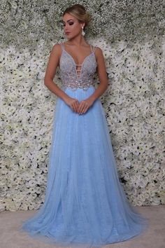 A Line Floor Length blue prom dress Top Y Pollera, Prom Dresses Blue, Formal Dresses, Matric Dance Dresses, Mother Of The Bride, Perfect Fit, Beautiful Dresses, Womens Fashion, Outfits