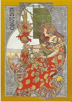 Besides his 'Four Seasons' the Catalan painter Gaspar Camps designed also allegorical pictures of the months of a year. They are Art Nouveau with a specific Spanish touch. Art And Illustration, Illustrations, Posters Vintage, Retro Poster, Vintage Art, Art Nouveau Mucha, Art Nouveau Poster, Alphonse Mucha, Erte Art