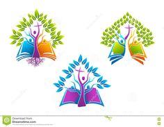 Logotipo Cristão Da árvore Da Bíblia, Família Do Espírito Santo Do ícone Da Raiz Do Livro, Projeto Do Símbolo Do Vetor Da Igreja Ilustração do Vetor - Imagem: 75115183