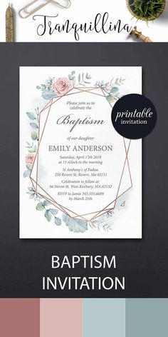 Baptism Invitation Christening Invitation PRINTABLE Girl or Boy Baptism party invite, Pastel pink mint floral invitation #baptism #party