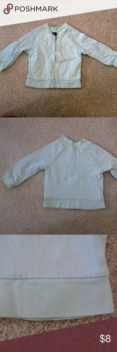 GAP Kids Mint Jacket Super cute for Fall and Spring. 100% Cotton. Fully lined. Eyelet design on front. Good used condition. Small mark at hem see photo. Might come out with Oxy Clean. No holes no rips. Pet free smoke free home. GAP Jackets & Coats