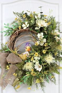 Easter Front Door Wreath with Adorable Yellow Easter Chick!