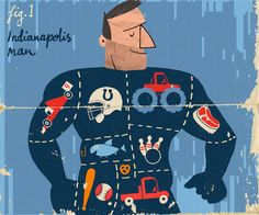""""""" Indianapolis Man """" Illustration for Indianapolis Monthly,....Paul Thurlby"""