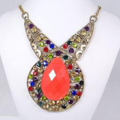 Huge Neon Coral Beads Statement Necklace Multi by BellaJewelry4u, $13.99
