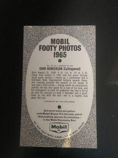 Mobil football photos 1965 Collingwood John Henderson Football Photos, Football Cards, John Henderson, Soccer Cards