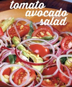 Tomato Avocado #Salad recipe with red onion, pine nuts and basil