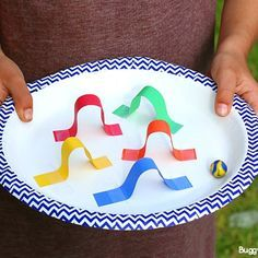 STEM Challenge for Kids: Design a Paper Plate Marble Maze - Buggy and Buddy Games For Kids, Diy For Kids, Crafts For Kids, Stem For Kids, Craft Kids, Motor Activities, Preschool Activities, Kindergarten Science Experiments, Kindergarten Stem
