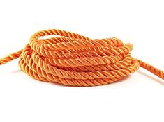 3.5mm Sun Orange Twisted Rayon Satin Rope Silk by LylaSupplies