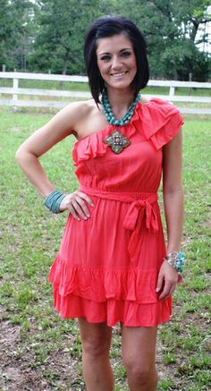 Walking After Midnight Salmon Dress  Price: $34.95  Size: Small, Medium, Large  http://www.giddyupglamouronline.com/catalog.php?item=4952