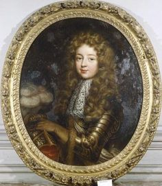 Louis-Auguste de Bourbon, Legitime de France (1670-1736), duc du Maine, eldest son of Louis XIV and Madame de Montespan. Despite being a mediocre soldier and given to intrigue, Louis-Auguste was the favorite of his governess and later stepmother, Madame de Maintenon, as well as his father the King. 1690 portrait by Pierre Mignard.