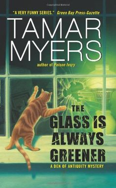 The Glass Is Always Greener (Den of Antiquity) by Tamar Myers http://www.amazon.com/dp/0060846615/ref=cm_sw_r_pi_dp_vLbAvb1CH431W