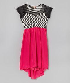 Look what I found on #zulily! Speechless Black & Pink Stripe Hi-Low Dress by Speechless #zulilyfinds