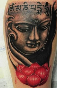 b924bba096a0b Fantastic Buddha Face And Lovely Red Lotus Flower Tattoo Design 13 Buddha  Tattoo Meaning, Buddha