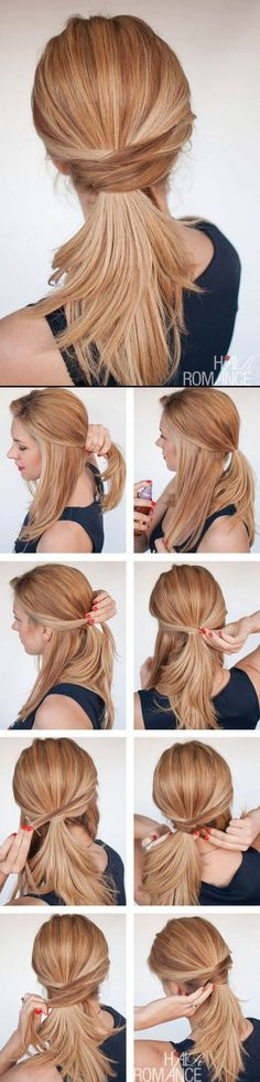 3 chic ponytail tutorials to lift your everyday hair game - Hair Romance - Hair Romance - The chic twisted ponytail tutorial - Everyday Hairstyles, Trendy Hairstyles, Office Hairstyles, Beautiful Hairstyles, Medium Hairstyles, Natural Hairstyles, Professional Hairstyles, Job Interview Hairstyles, Running Hairstyles