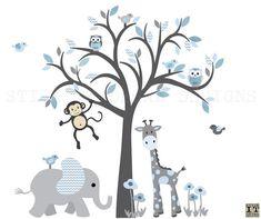 Junge Baum Dschungel Tier Baum Wandtattoo, junge Affen Vinyl-Aufkleber INBEGRIFFEN IN diesem Aufkleber-DESIGN: Denim Design blass / grau Baum 1 Baum 2 Eulen 4 Vögel 1 Affe 1 Elefant 1 giraffe <<< BAUMGRÖßE >>> 59 breit x 75 hoch Bedruckte Vinyl Wandtattoos haften nicht an