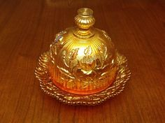 Vintage Imperial Domed Carnival Glass Butter Dish Marigold Luster Open Rose