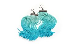Ombre turquoise hand dyed fringe earrings tassel by elfinadesign Textile Jewelry, Jewellery, Jewelry Accessories, Jewelry Design, Fringe Earrings, Summer 2015, Tassels, Gifts For Her, Handmade Jewelry