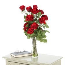 Roses with Cylinder Vase Silk Flower Arrangement | Nearly Natural