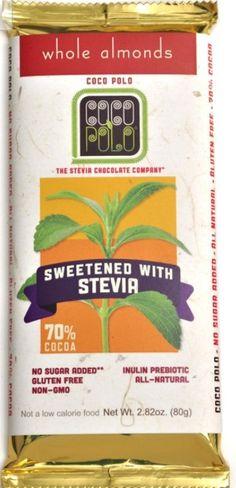 Chocolate sweetened by stevia.