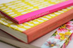 vintage books covered in pretty paper, re-binded into journals. so cute! | via eat sleep cuddle.