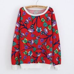2016 New Autumn Girls Floral Sweatshirts Casual Women Tracksuits Cotton 3D Terry Printed Crew Neck Long Sleeves Pullovers
