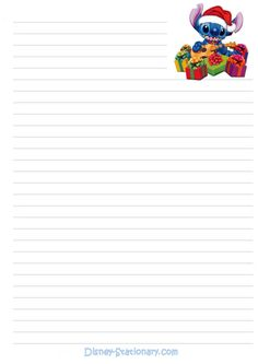 disney printable stationary | Printable Disney Christmas Stationery featuring Stitch 626 with ...