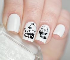 Panda Nails For The Day - Lacquered Bits Animal Nail Designs, Animal Nail Art, Gel Nail Art Designs, Creative Nail Designs, Beautiful Nail Designs, Creative Nails, Crazy Nail Art, Cute Nail Art, Cute Nails