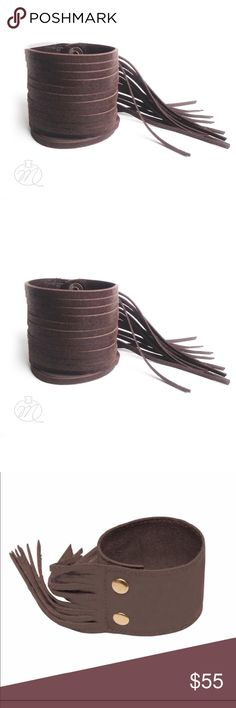 BROWN ITALIAN SUEDE ARTIST MADE BOHO FRINGE ARTIST MADE In GREECE All COLORS are Literally EXQUISITE. THIS ONE IS ITALIAN BROWN SUEDE, CUFF is 2.5 in W / FRINGE is 4.5 in L / FITS WRIST SZ 6 to 7.5 DEPENDING on how you'd wear it! ARTIST MADE. ✳️PRICE IS FIRM UNLESS BUNDLED Miriska Jewelry Bracelets