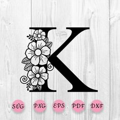 Flower Alphabet, Flower Letters, K Tattoo, Paper Crafts Origami, Circle Monogram, Star Flower, Craft Patterns, Svg Cuts, Coloring Pages