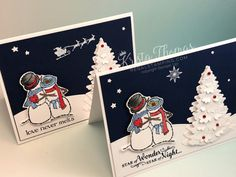 Spirited Snowmen Christmas Card with Winter Woods, Stampin' Up! By Krista Thomas