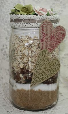 Jar Gift:  Cute way to dress up gifts in a jar.