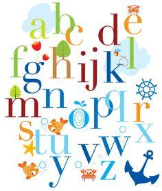 Childrens Alphabet Wall Decal - Large Vinyl Art Sticker - Modern Educational Nursery Decal - Boys and Girls Room - Nautical Fish Anchor