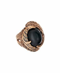 Look what I found on #zulily! Onyx & Copper Feather Circle Ring #zulilyfinds