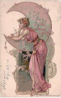 TARJETA POSTAL. ART NOUVEAU. MUJER CON LUNA. CIRCULADA 1903.
