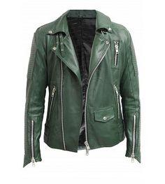Lambskin Leather Biker Jacket Green S-XXL http://www.mybrandamsterdam.com/nl/product/524/my-brand-lambskin-leather-biker-jacket/3984/