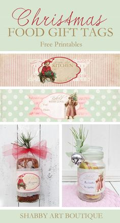 Download these free Christmas food gift tags to use on your baked goods - from Shabby Art Boutique