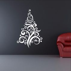 """Christmas Tree Style C Removable Vinyl Wall Decal 22360 This decal measures approx. 44""""H x 29""""W. The color samples shown have been reproduced and may vary slightly from actual colors due to different"""