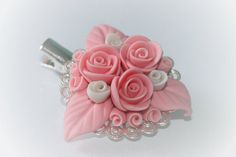 Flowers hair clip  polymer clay by Nattallinka on Etsy, €4.99