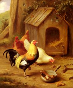 Famous Chicken Paintings | Hunt Edgar Chickens Feeding