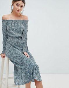ASOS DESIGN Off Shoulder Midi Plisse Dress In Ditsy Print