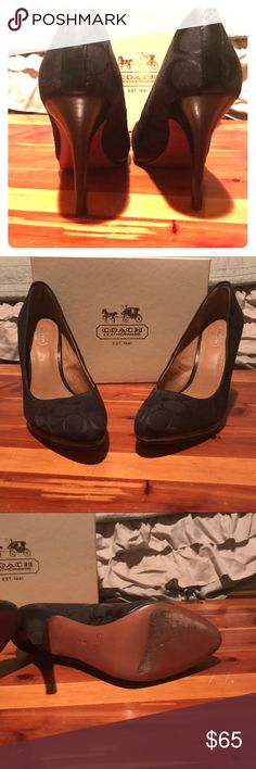 Coach Black Heels — Size 8 Beautiful Black Coach Cayla Signature Heels Size 8. The bottoms show some use but these shoes are in like new condition.  The monogram of the Coach C's are subtle, and elegant. From smoke free, pet friendly home. Coach Shoes Heels