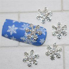 10psc New White Rhinestone Snowflake 3D Nail Art Decorations,Alloy Nail Charms,Nails Rhinestones  Nail Supplies #158