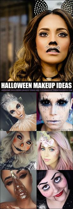 Makeup Tutorials - Costume Ideas Halloween Makeup Tutorials and Costume Ideas - These are amazing.Halloween Makeup Tutorials and Costume Ideas - These are amazing. Make Yourself Halloween Costumes, Halloween Look, Cute Halloween Makeup, Halloween Inspo, Last Minute Halloween Costumes, Halloween Treats, Costume Halloween, Halloween Halloween, Halloween Makeup Tutorials