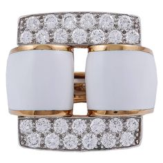 David Webb Enamel Diamond gold platinum Ring
