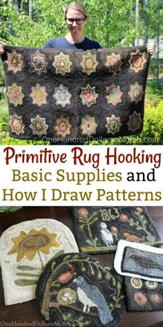 Primitive Rug Hooking – Basic Supplies and How I Draw Patterns – One Hundred Dollars a Month – Latch Hook İdeas. Rug Hooking Designs, Rug Hooking Patterns, Rug Hooking Frames, Rug Patterns, Hook Punch, Primitive Crafts, Primitive Patterns, Primitive Snowmen, Primitive Christmas