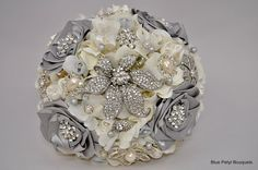 Couture Rose Jeweled Flower Bouquet #wedding #bouquet